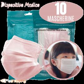 10 Mascherine Chirurgiche per Bambine Filtranti in 3 Strati Certificate CE