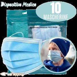 10 Mascherine Chirurgiche per Bambini Filtranti in 3 Strati Certificate CE