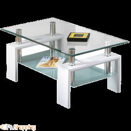 Tavolino per Salotto Moderno 2 Ripiani in Legno e Vetro Design Moderno - 100x60x45 Bianco