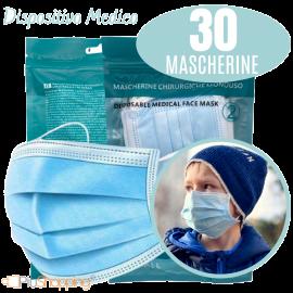 30 Mascherine Chirurgiche Per Bambini Filtranti In 3 Strati Certificate CE