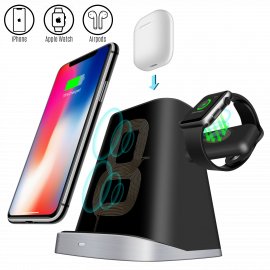 CARICATORE WIRELESS QI 3 IN 1 RICARICA RAPIDA PER IPHONE APPLE WATCH AIRPODS
