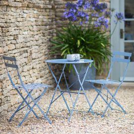 Glenan Set Bistrot da Giardino in Acciaio con Tavolo Rotondo e 2 Sedie Pieghevoli Blu