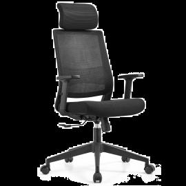 Poltrona Ufficio Ergonomica, Girevole e Regolabile, con Poggiatesta Imbottito – 64x64x118/128