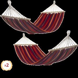Set 2 Amache da Giardino in Cotone per Esterno – 200x100 (Rosso, Viola e Giallo)