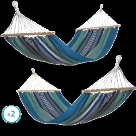 Set 2 Amache da Giardino in Cotone per Esterno – 200x100 (Azzurro, Grigio e Beige)
