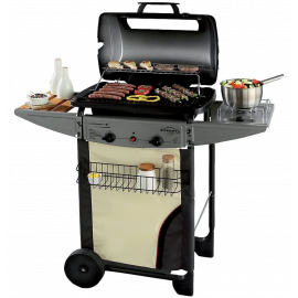 Barbecue a gas con pietra lavica Campingaz Expert Deluxe Grigio e Nero per Giardino Terrazza Campeggio 110x50x111h