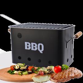 Barbecue a Carbonella Portataile BBQ da Tavolo con Manici in Eucalipto - Nero 33x21x21