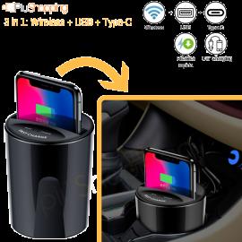 Caricabatteria per Auto Wireless Caricatore Portabicchiere per iPhone Samsung Huawei iOS Android