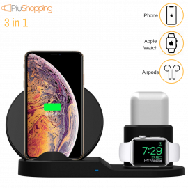 CARICATORE WIRELESS 3 in 1 PER IPHONE 8 X XS XR APPLE WATCH AIRPODS DOCK