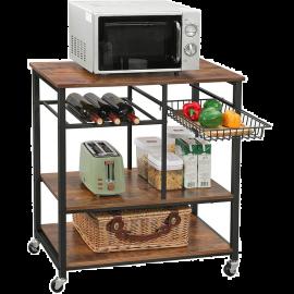 Carrello Cucina con Ruote Salvaspazio Stile Industriale 80x40x86h