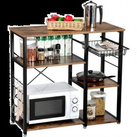 Scaffale per Cucina Salvaspazio in Legno Design Industriale 90x40x84h