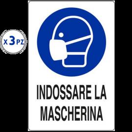 3 PZ Cartello di Obbligo INDOSSARE LA MASCHERINA 20x30 in Plastica