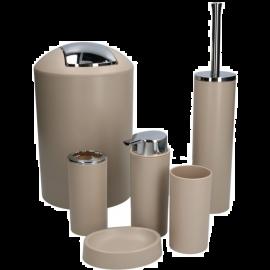 Kit Accessori Bagno Completo 6 Pezzi Design Moderno Marrone