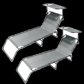 Set 2 Lettini Prendisole Pieghevoli con Tettuccio Parasole e Schienale Regolabile – 182x58x28h Grigio