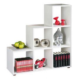 Libreria Design Sei Cubi a Scala Bianca Scaffale Divisorio A Giorno