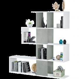 Libreria Bianca in Legno Zig Zag Moderna Salvaspazio per Soggiorno 145x29x145h