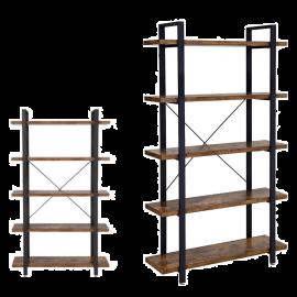 Libreria da Muro Salvaspazio 5 Mensole Stile Industrial 105x34x176h