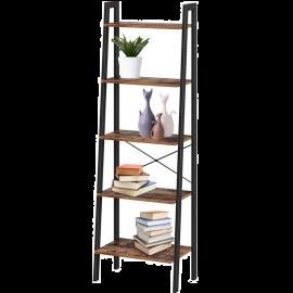 Libreria da Parete Moderna 5 Scaffali in Legno e Ferro Stile Industriale 56x34x172
