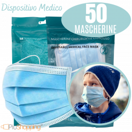 50 Mascherine Chirurgiche per Bambini Filtranti in 3 Strati Certificate CE