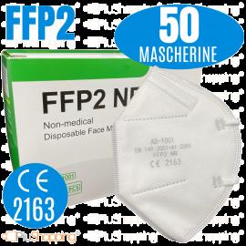 50 PZ. Mascherine FFP2 Protezione Naso Bocca DPI CE 2163
