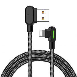 Mcdodo 90 °Angolo retto Lightning sincronizzazione Dati USB Caricabatterie Cavo di Ricarica per iPhone 5 5s 5c 6 6s 6 Plus X XS XR XS Max 8 7 Nero con LED