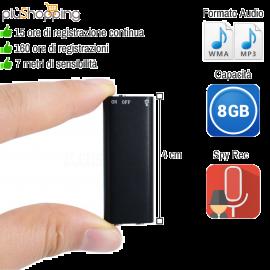 8GB MICRO MINI REGISTRATORE AUDIO ATTIVAZIONE VOCALE SPY SPIA AMBIENTALE USB