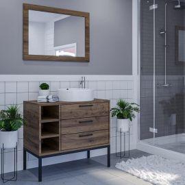 Mobile Bagno da Terra con Lavabo e Specchio Salvaspazio Legno e Ceramica 80x46x90