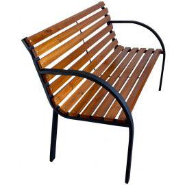 Panchina da Esterno per Arredo Giardino in Legno e Acciaio Design Moderno 12 Doghe 122x65x79h