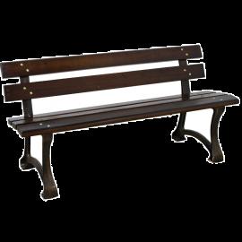 Panchina da Giardino per Esterno in Ghisa e Legno Massello Design Anticato 150x62x73h Marone