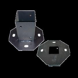Supporto per Pali Piastra per Fissaggio Quadrata Nero Metallo Zincato - 14,5x14,5