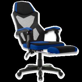 Poltrona Gaming Ergonomica Con Poggiapiedi, Braccioli E Schienale Regolabile, Sedia Girevole Blu e Nera