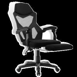 Poltrona Gaming Ergonomica con Poggiapiedi, Braccioli e Schienale Regolabile, Sedia Girevole da Ufficio