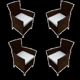Set 4 Poltrone per Esterno in Polyrattan Complete di Cuscino Schienale Alto con Braccioli 58x62x84h