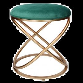 Pouf Puff Sgabello in Velluto, Poggiapiedi da Salotto, Design Moderno Indoor | 36x42h Verde