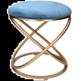 Pouf Puff Sgabello Poggiapiedi in Velluto Design Indoor 36x42h Azzurro