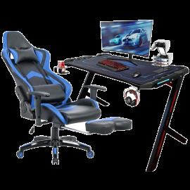 Scrivania Gaming con LED per Pc e Ufficio + Poltrona Ergonomica Girevole, con Poggiatesta e Poggiabraccia – 120x61x73