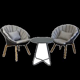 Salotto da Giardino Tavolo e Poltrone con Cuscini Struttura in Acciaio Antracite