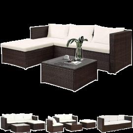 Salotto da Giardino per Esterno in Rattan 3 Poltrone 1 Tavolino 1 Chaise Longue 196x63,5x66