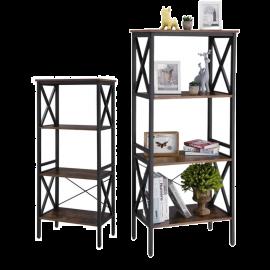 Libreria Scaffale in Legno Salvaspazio 4 Mensole Design Industrial 56x34x131