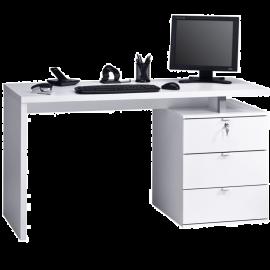 Scrivania Pc per Ufficio con Cassetti Salvaspazio Design Scandinavo - Bianca 139x60x75
