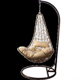 Sedia Dondolo Sospesa Design Moderno con Cuscini 95x195h Beige