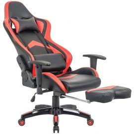 Sedia Gaming Rossa e Nera Con Poggiapiedi Ergonomica E Reclinabile Con Supporto Lombare
