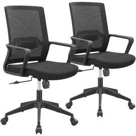 Set 2 Sedie da Ufficio Ergonomiche, Operative Girevoli e Regolabili con Supporto Lombare - 45x51x94/100h