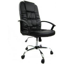 Sedia ufficio Poltrona con braccioli in eco Pelle nera direzionale regolabile Girevole Operativa ergonomica studio