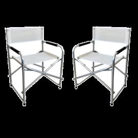 Set 2 Sedie da Regista Pieghevoli con Braccioli per Giardino Spiaggia Campeggio 57x45x58h