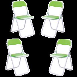Set Sedie Pieghevoli da Esterno in Acciaio Verniciato Imbottite e Salvaspazio 45x48x80h Verde