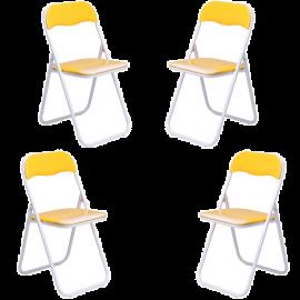 Set Sedie Pieghevoli da Esterno in Acciaio Verniciato Imbottite e Salvaspazio 45x48x80h Giallo