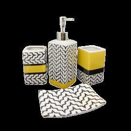 Set Accessori Bagno Completo in Ceramica Portaspazzolino Portasapone e Portasaponetta