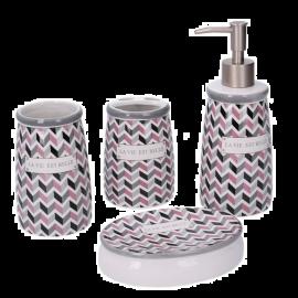 Set Accessori Bagno Completo in Ceramica Design Moderno  4 Pezzi