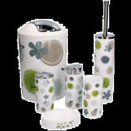 Kit Accessori Bagno Completo 6 Pezzi Design Fantasia Grigio